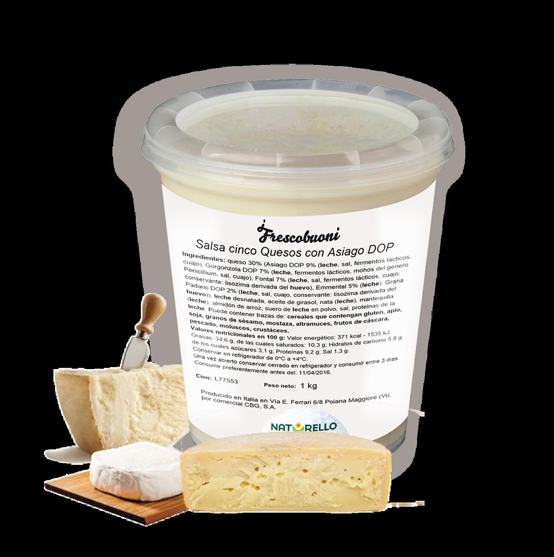Salsa fresca de 5 quesos con asiago dop