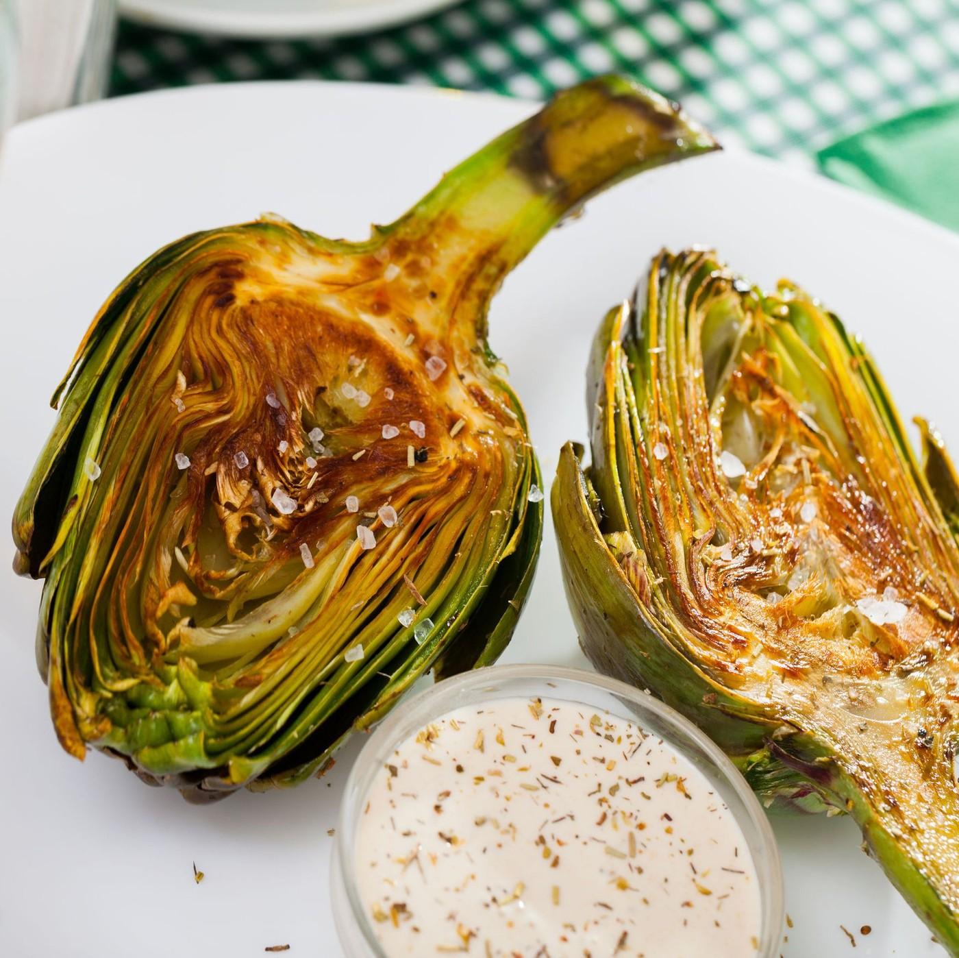receta de Corazones de alcachofas a la rustica (cortadas y asadas)