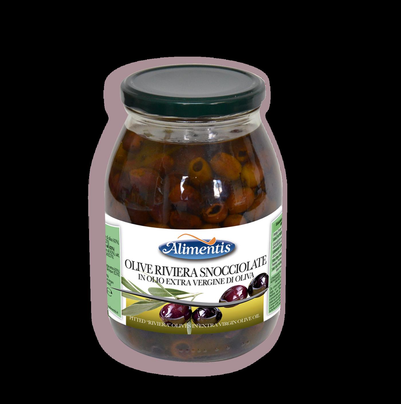 """Aceitunas """"riviera"""" sin hueso en aceite extra virgen de oliva"""