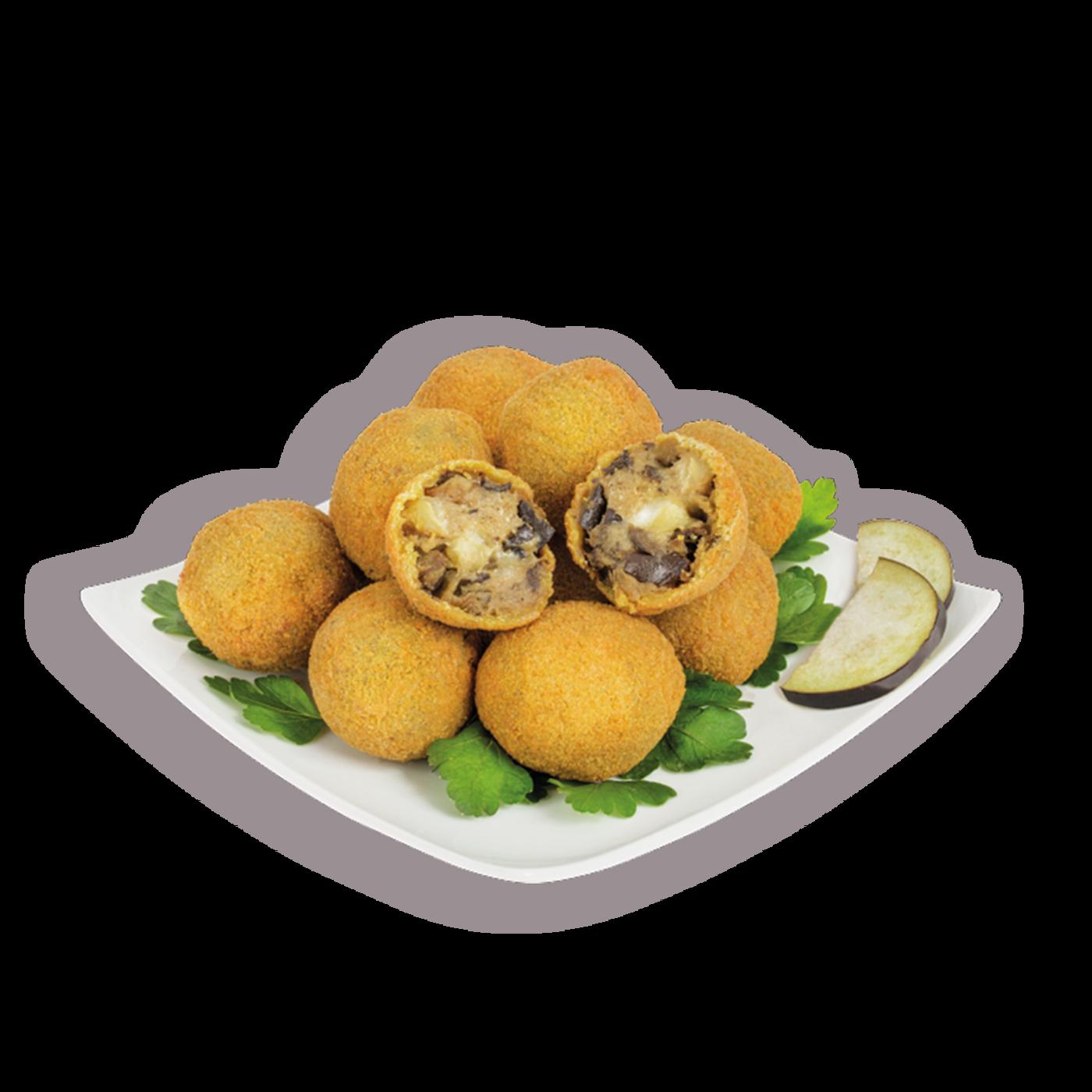 Polpettine de berenjena con mozzarella y provola ahumada