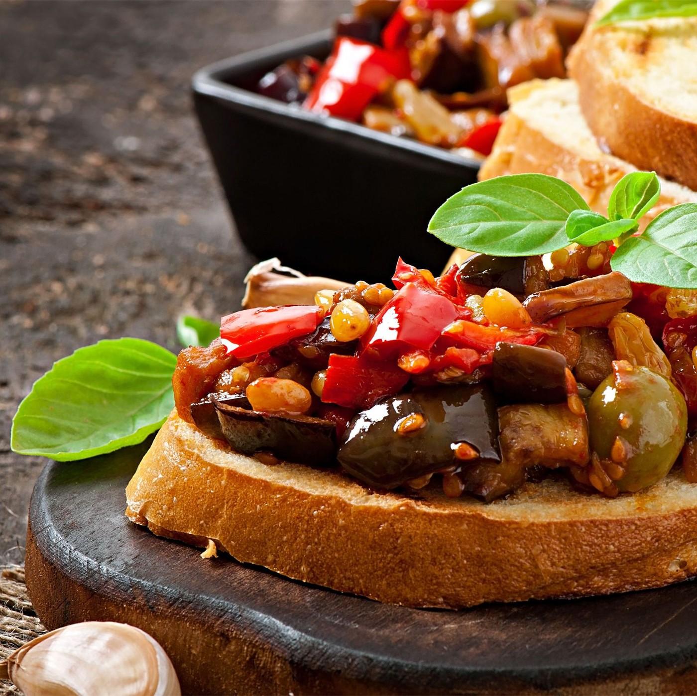 receta de Bruschetta picante con verduras y setas