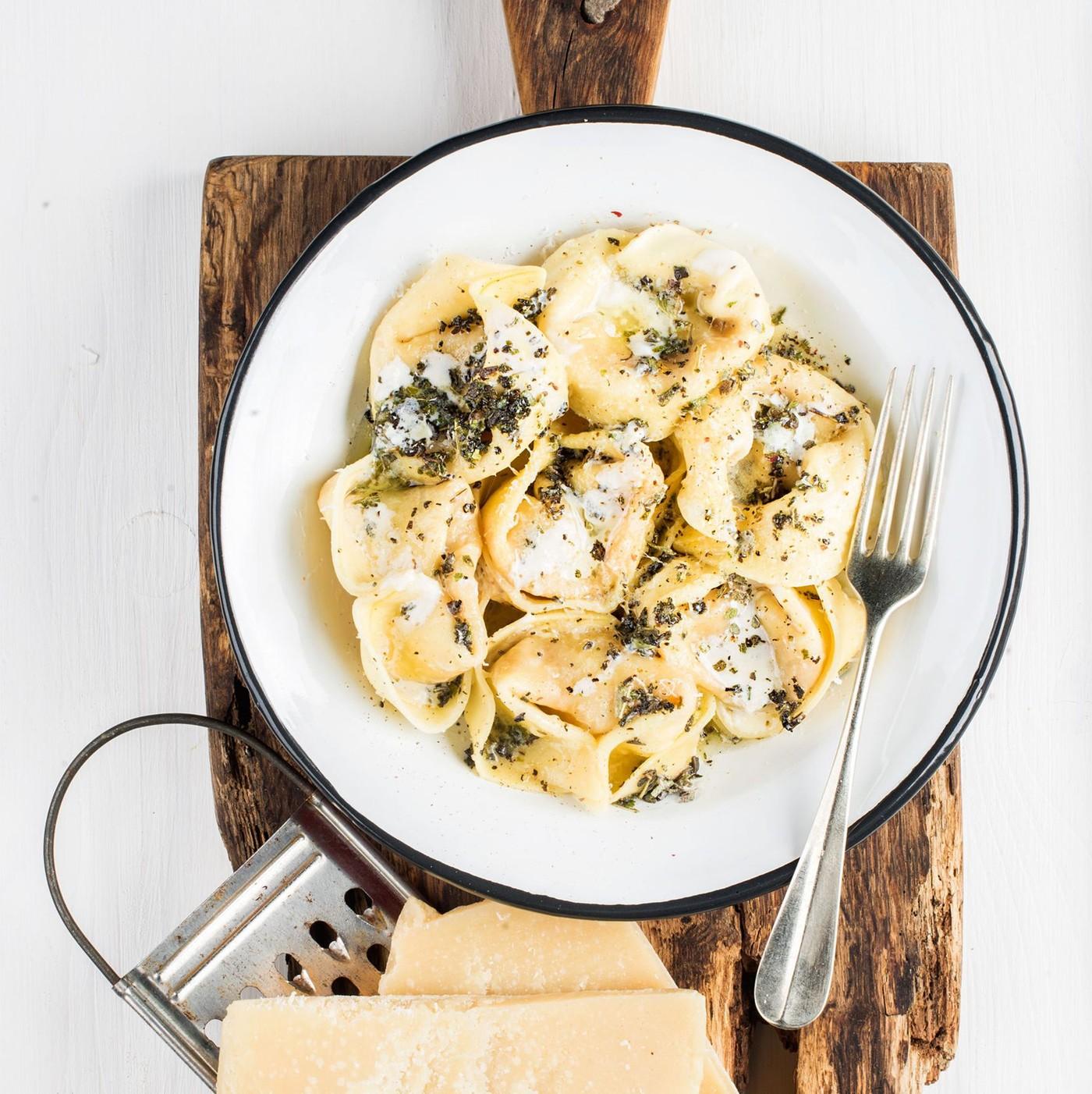 receta de Tortelloni con ricotta y espinacas