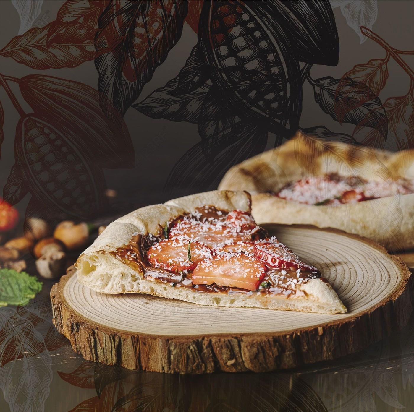 Pizza con Nutella, fresa y coco