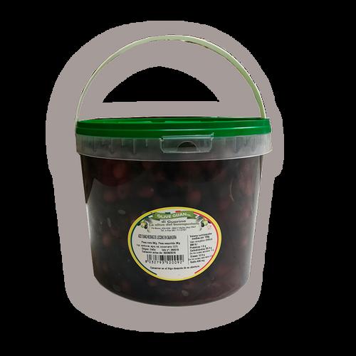 """Aceitunas negras """"leccino"""" deshuesadas en salmuera"""