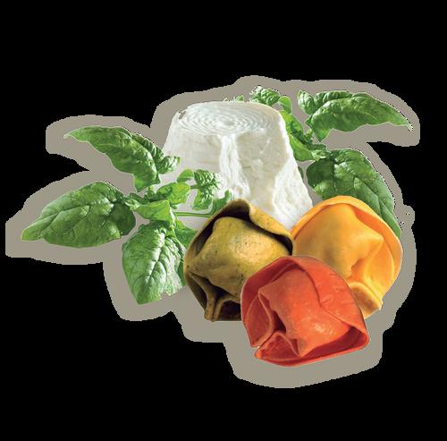 Tortelloni Tricolor De Ricotta Y Espinacas