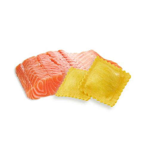 Ravioli con salmón precocido